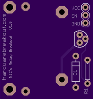 Rendering of my relay PCB from OSHPark.com (top).