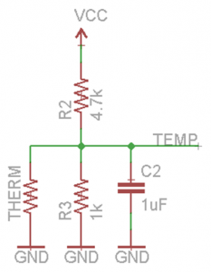 The circuit I used to transform the thermistor's resistance into voltage.